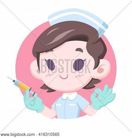 National Nurses Day, Cute Style Nurse Holding Injection Syringe Doing Ok Gesture Cartoon Illustratio