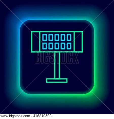 Glowing Neon Line Electric Heater Icon Isolated On Black Background. Infrared Floor Heater With Remo