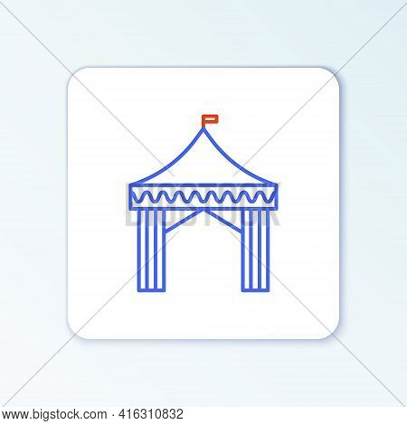 Line Camping Tent Icon Isolated On White Background. Carnival Camping Tent. Amusement Park. Colorful