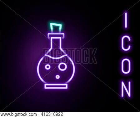 Glowing Neon Line Glass Bottle With Magic Elixir Icon Isolated On Black Background. Computer Game As