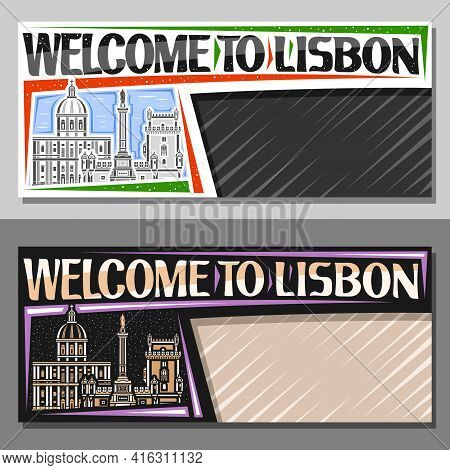 Vector Layouts For Lisbon With Copy Space, Decorative Voucher With Outline Illustration Of Lisbon Ci