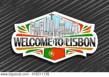 Vector Logo For Lisbon, White Decorative Sticker With Illustration Of Lisbon City Scape On Day Sky B