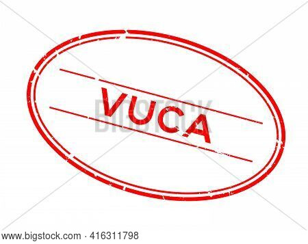 Grunge Red Vuca (abbreviation Of Volatility, Uncertainty, Complexity And Ambiguity) Word Oval Rubber