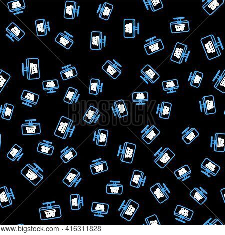 Line Computer Monitor With Text Faq Information Icon Isolated Seamless Pattern On Black Background.