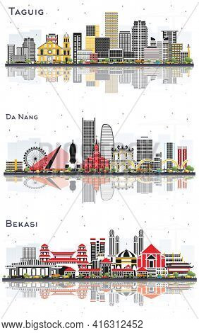 Da Nang Vietnam, Bekasi Indonesia and Taguig Philippines City Skyline Set with Color Buildings and Reflections Isolated on White Background.