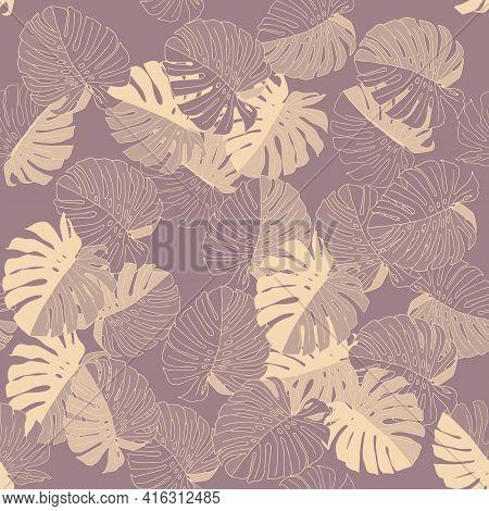 Gray Vector Illustration Of Leaves Monstera. Seamless Pattern