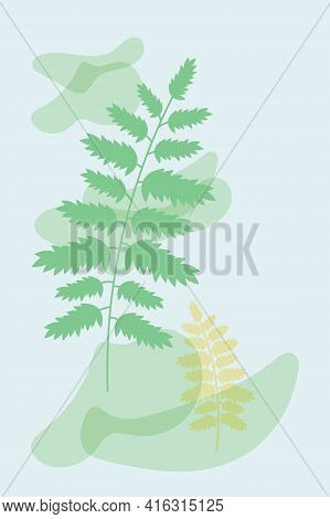 Blue Abstract Poster With Simple Shapes And Floral Elements, Branches And Leaves. Blue Minimalist In