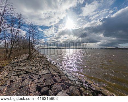 Vistula River Valley Baltic Sea In Mikoszewo, Poland.