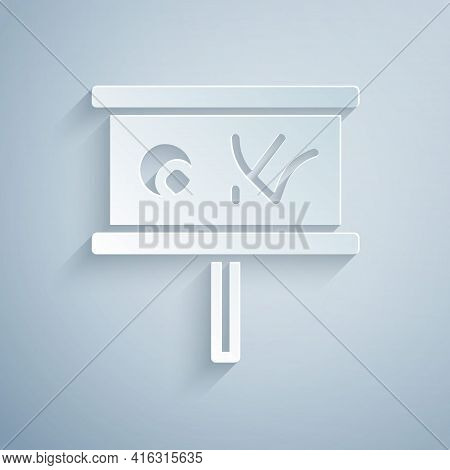 Paper Cut Planning Strategy Concept Icon Isolated On Grey Background. Baseball Cup Formation And Tac