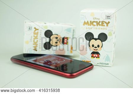Bangkok, Thailand - April 10, 2021 : Mickey Mouse Family Figure Blind Box Collection, New Version 10