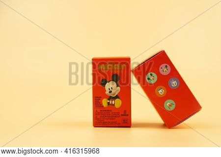 Bangkok, Thailand - April 10, 2021 : New Version, Blind Box X Miniso Collection Of Mickey And Friend