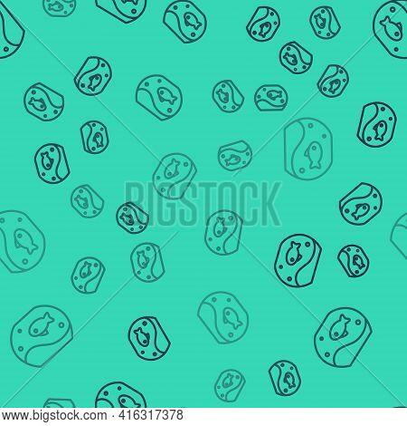 Black Line Aquarium With Fish Icon Isolated Seamless Pattern On Green Background. Round Glass Aquari