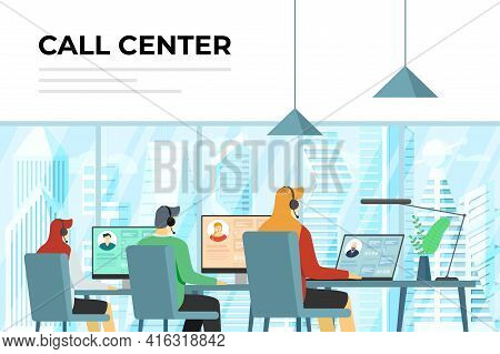 Call Center Operators In Office. Hotline Workers With Headsets At Work. Online Customer Support Depa