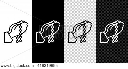 Set Line Hands In Praying Position With Rosary Icon Isolated On Black And White, Transparent Backgro