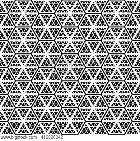 Abstract Seamless Geometric Hexagons And Triangles Pattern And Texture. Vector Art.
