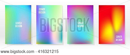 Minimal Poster. Pastel Soft. Rainbow Gradient Set. Graphic Color Background. Blurred Mesh Texture. V