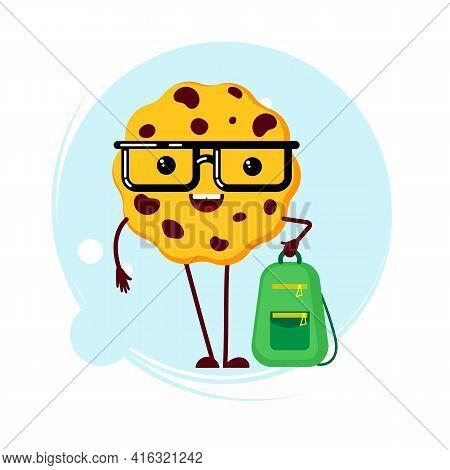 Web Browser Cookie Character. Funny Internet Cookie Emoji. Smart Cookies Character Biscuit With Geek