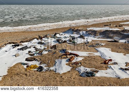 This Is The Polluted Coast Of Azov In Winter.