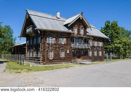 Shyoltozero, Russia - June 13, 2020: The Old Wooden Building Of The Shyoltozero Rjurik Lonin Vepsian