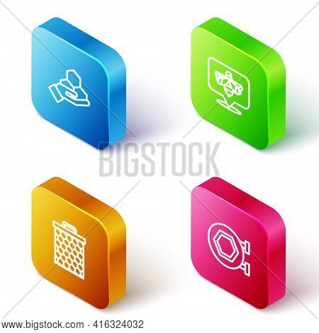 Set Isometric Line Honeycomb And Hand, Bee, And Hanging Sign With Honeycomb Icon. Vector