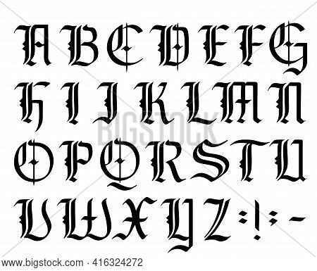 Vector Modern Gothic Alphabet. Vintage Font. Gothic Font Hand Drawn Vector. Typography For Labels, H