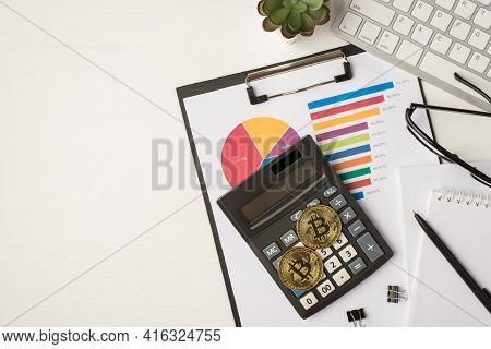Top View Photo Of Business Workplace With Keyboard Plant Glasses Pen Notebook Folder Pie Chart Diagr