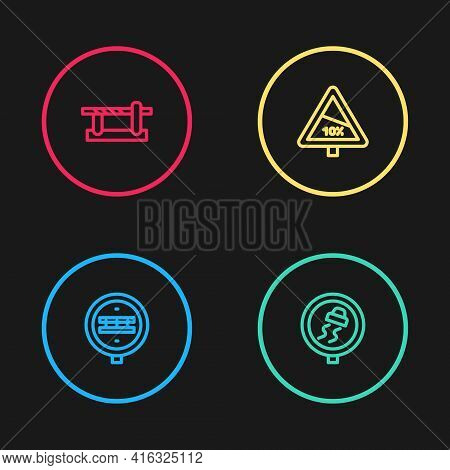 Set Line Railroad Crossing, Slippery Traffic, Steep Ascent And Descent And Parking Car Barrier Icon.
