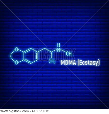 Mdma Ecstasy Glow Neon Style Concept Chemical Formula Icon Label, Text Font Vector Illustration, Iso