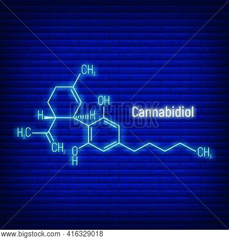 Cannabidiol Concept Glow Neon Style Chemical Formula Icon Label, Text Font Vector Illustration, Isol