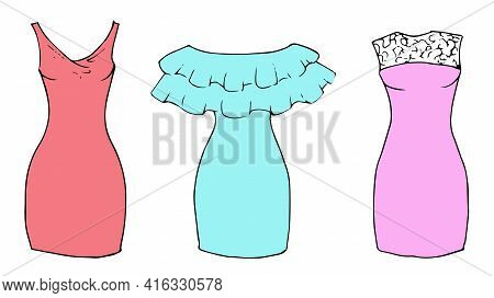 Pastel Colorfuk Slim Short Dresses Set Hand Drawn Sketch Slim Short Dress. Simple Flat Vector Isolat
