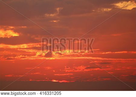 Crepuscular Rays Or God Rays On The Gorgeous Golden Red Sunset Sky