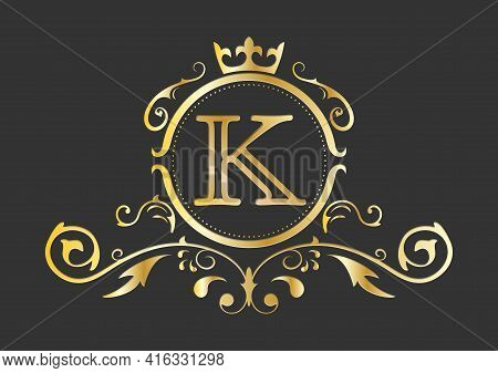 Golden Stylized Letter K Of The Latin Alphabet. Monogram Template With Ornament And Crown For Design