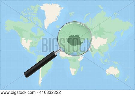 Map Of The World With A Magnifying Glass On A Map Of Romania Detailed Map Of Romania And Neighboring