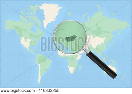 Map Of The World With A Magnifying Glass On A Map Of Hungary Detailed Map Of Hungary And Neighboring