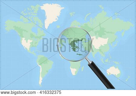 Map Of The World With A Magnifying Glass On A Map Of Greece Detailed Map Of Greece And Neighboring C