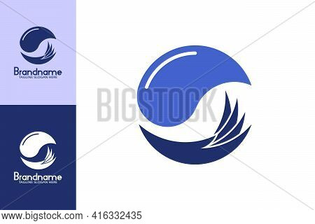 Hand Water Logo Design. The Logo Design With The Concept Of Water And Hand Design. Symbolizing Envir