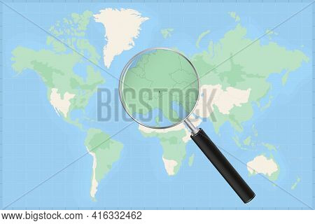 Map Of The World With A Magnifying Glass On A Map Of Liechtenstein Detailed Map Of Liechtenstein And