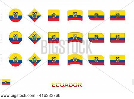 Ecuador Flag Set, Simple Flags Of Ecuador With Three Different Effects. Vector Illustration.