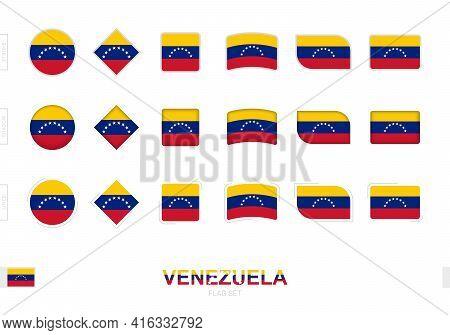 Venezuela Flag Set, Simple Flags Of Venezuela With Three Different Effects. Vector Illustration.
