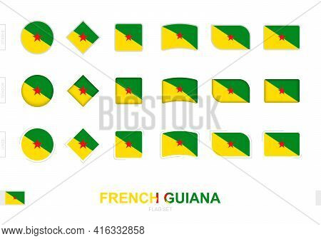 French Guiana Flag Set, Simple Flags Of French Guiana With Three Different Effects. Vector Illustrat