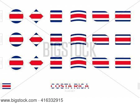 Costa Rica Flag Set, Simple Flags Of Costa Rica With Three Different Effects. Vector Illustration.