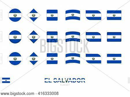 El Salvador Flag Set, Simple Flags Of El Salvador With Three Different Effects. Vector Illustration.