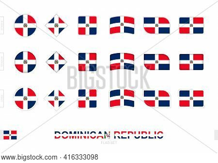 Dominican Republic Flag Set, Simple Flags Of Dominican Republic With Three Different Effects. Vector