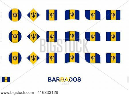 Barbados Flag Set, Simple Flags Of Barbados With Three Different Effects. Vector Illustration.