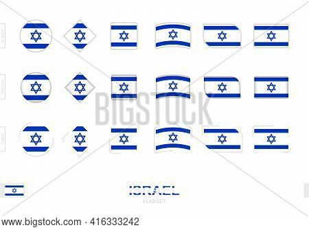 Israel Flag Set, Simple Flags Of Israel With Three Different Effects. Vector Illustration.