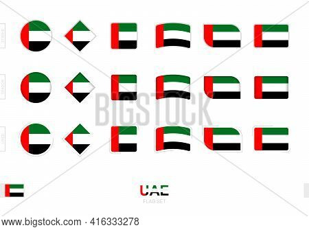 United Arab Emirates Flag Set, Simple Flags Of United Arab Emirates With Three Different Effects. Ve