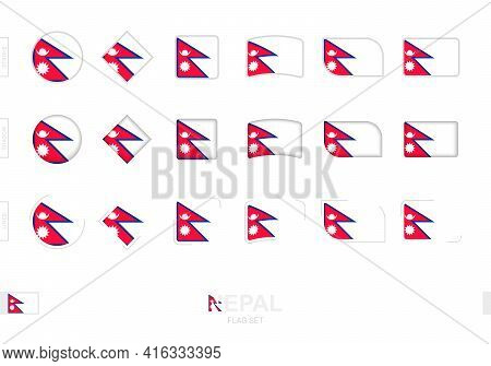 Nepal Flag Set, Simple Flags Of Nepal With Three Different Effects. Vector Illustration.