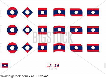 Laos Flag Set, Simple Flags Of Laos With Three Different Effects. Vector Illustration.