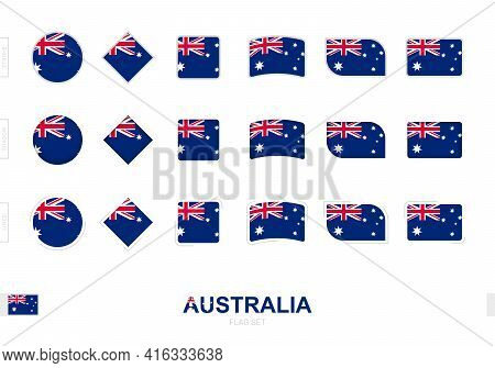 Australia Flag Set, Simple Flags Of Australia With Three Different Effects. Vector Illustration.