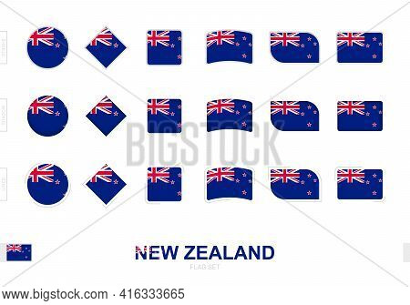 New Zealand Flag Set, Simple Flags Of New Zealand With Three Different Effects. Vector Illustration.